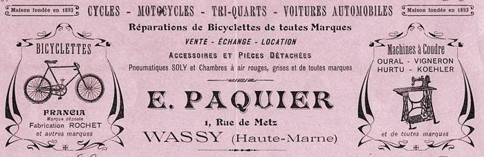 publicité E. Paquier, Wassy, cycles Francia