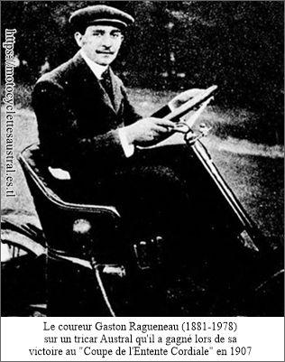 Gaston Ragueneau sur un tri-car Austral type G