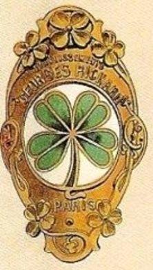 plaque de cadre avec logo des cycles Georges Richard, trèfle à quatre feuilles