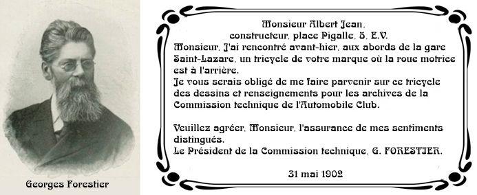 Lettre de Georges Forestier à Albert Jean, 1902. Retranscription et dessin par l'auteur