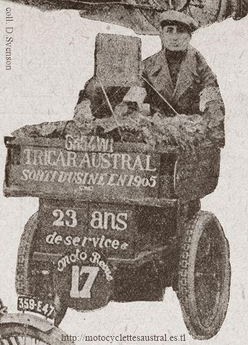 1928, Gohier sur un tricar Austral de 1905 lors du Championnat de France des trimoteurs industriels