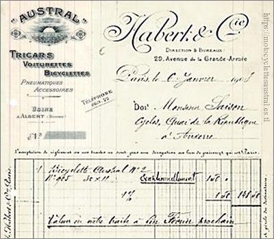 facture Habert et Companie 1908, Austral tri-cars, voiturettes, bicyclettes