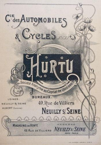 affiche de la compagnie des Automobiles et cycles Hurtu