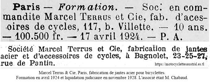 Jantes Marcel Terrus. Formation en 1924