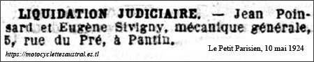 Liquidation Poinsard et Sivigny, mai 1924