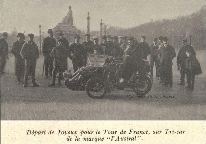 Le départ de Joyeux pour le Tour de France en tricar Austral, novembre 1905