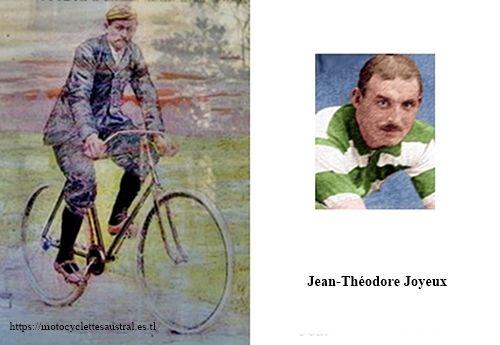 le cycliste Jean Théodore Joyeux sur une bicyclette acatène