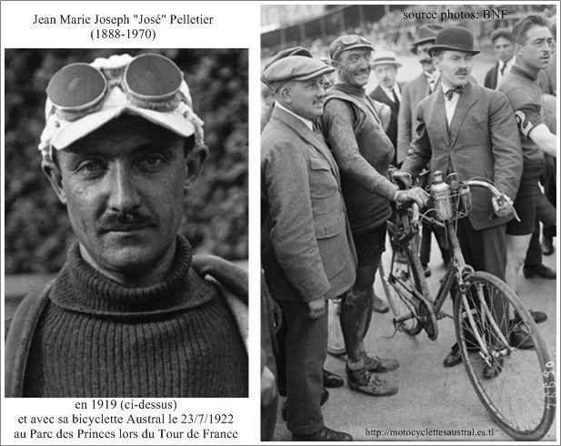 José Pelletier avec son vélo Austral le 23/7/1922 au parc des Princes lors du Tour de France