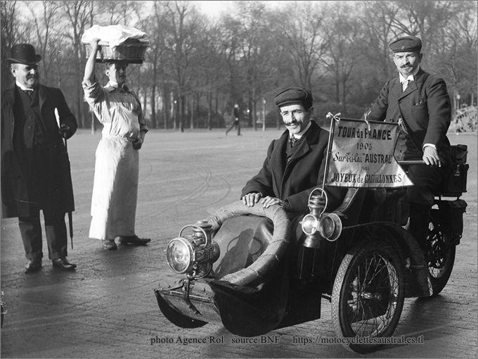 Théodore Joyeux au départ pour son Tour de France sur Tricar Austral, 1905