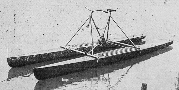 Nautilette Austral. Hydrocycle ou bicyclette nautique construit à Puteaux