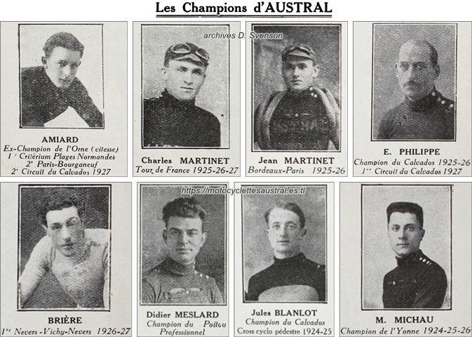 Des champions cyclistes: Pierre Amiard, Charles Martinet, Jean Martinet, Eugène Philippe, E. Brière, Didier Meslard, Jules Blanlot, M. Michau