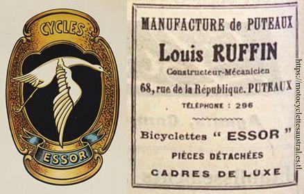 Louis Ruffin, constructeur-mécanicien, cycles Essor à Puteau. publicité et plaque de cadre pour vélo