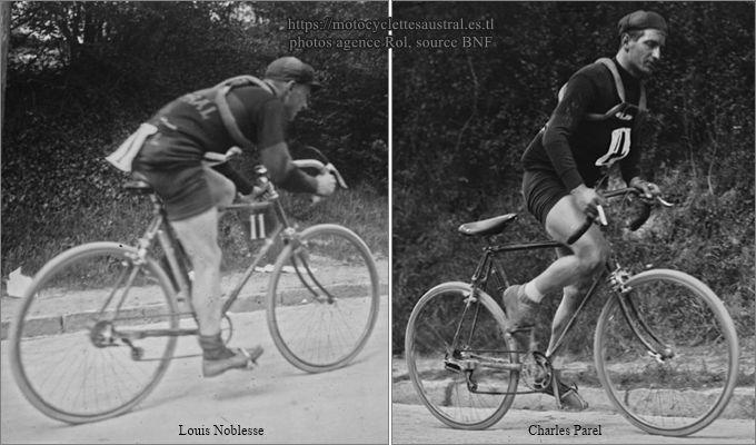 Louis Noblesse et Charles Parel sur vélo Austral, Chanteloup 1923