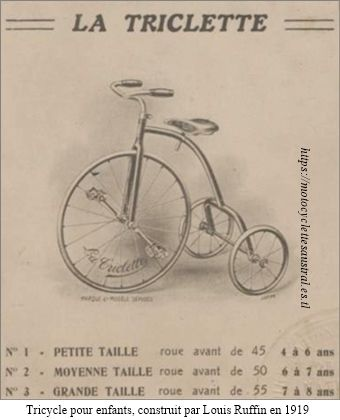 "Un tricycle pour enfants, apellé ""La Triclette"", construit par Louis Ruffin en 1919. Dessin."