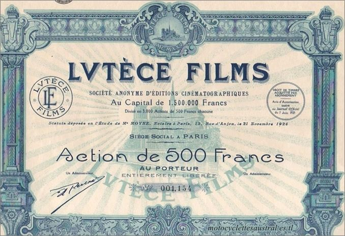 Lutèce-Films, action de 500 fr 1925