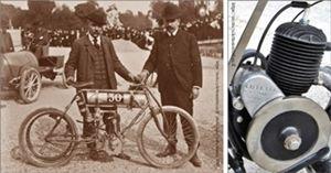 Félix Échard avec la motocyclette Echard à moteur Deckert. Le moteur Lutétia construit par Marcel Echard