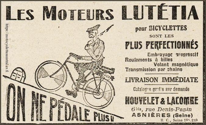 publicité de 1924 pour les moteurs auxiliaires pour bicyclettes, marque Lutétia, commercialisés par Nouvelet et Lacombe