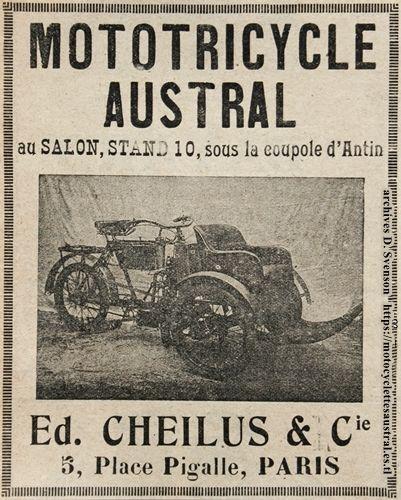 mototricycle Austral type A au Salon 1904, Stand 10 sous la coupole d'Antin