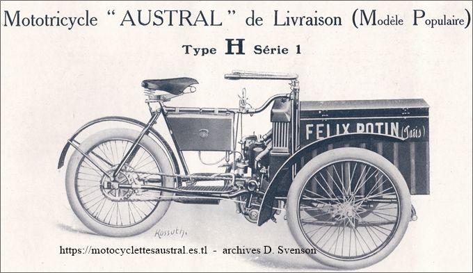 Austral tricar type H série 1, 1907, avec coffre de livraison, publicité Félix Potin