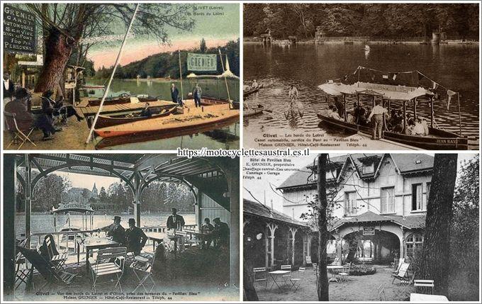 Olivet, la maison Grenier et ses attractions, quatre vues: L'hôtel, les canots, le bateau