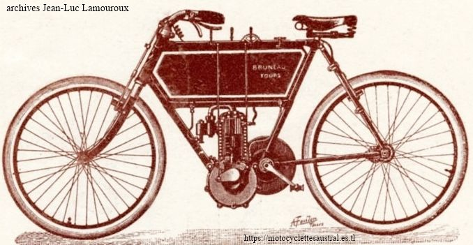 motocyclette Paul Bruneau, Tours, à cardan, 1904