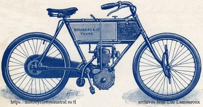 Paul Bruneau, motocyclette 1905 avec suspension avant