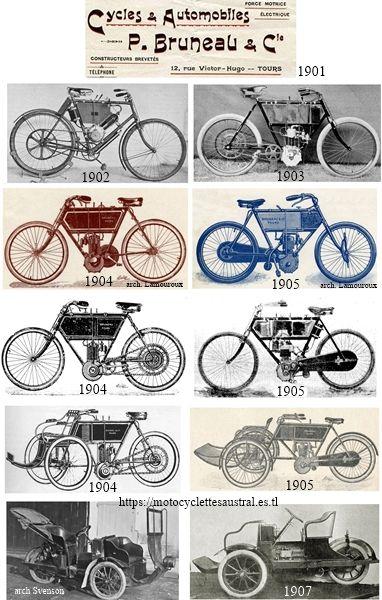 motocyclettes et tricars fabriqués par Paul Bruneau, Tours, entre 1902 et 1907