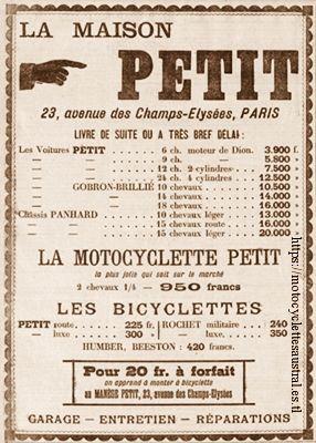 publicité pour les véhicules produits ou vendus par la Maison Petit en 1903
