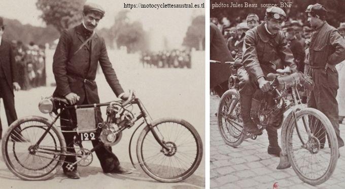 Pierre Dacier en mai 1903 avec une moto Clément lors de l'épreuve Paris-Madrid, et en Juin 1903 au circuit des Ardennes