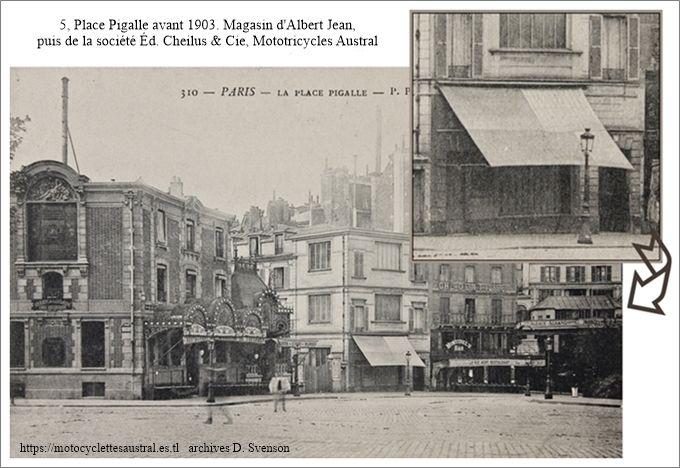 5 place Pigalle, Paris. Le magasin d'Albert Jean, puis de la Société Edouard Cheilus, en 1903 ou avant.