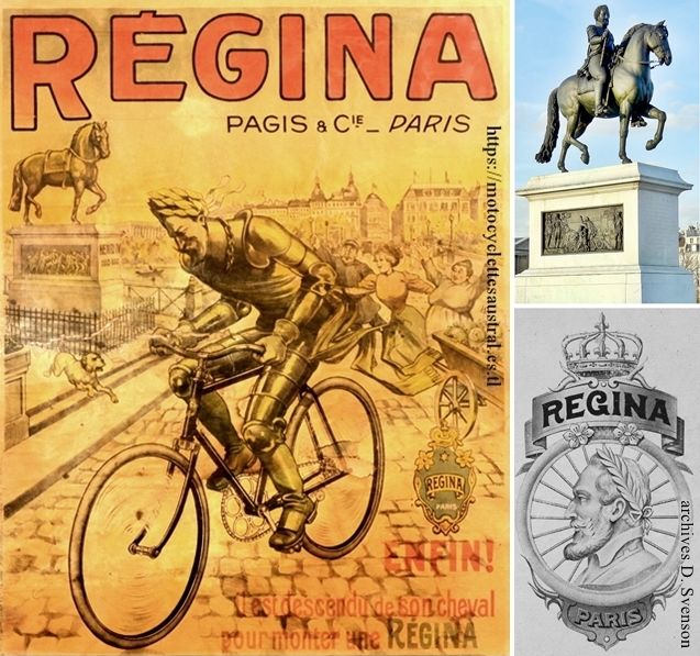 affiche cycles Régina, usines à Albert, Somme. Statue equestre d'Henri IV. Portrait d'Henri IV