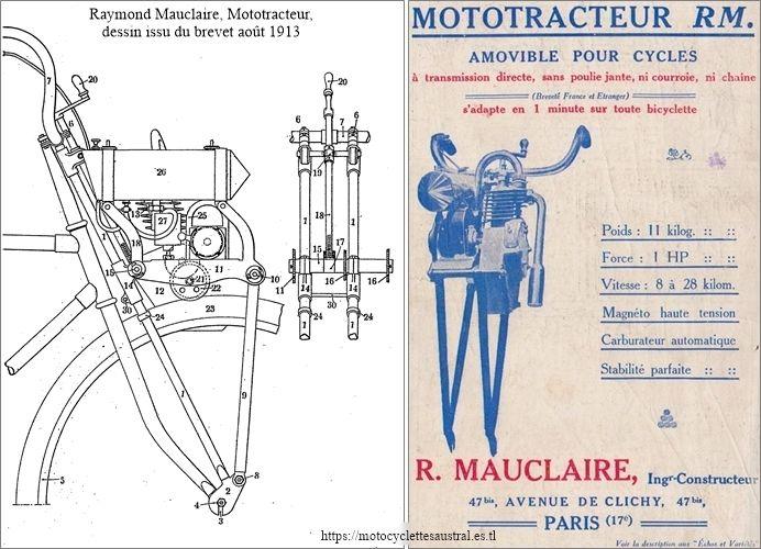 Raymond Mauclaire, Mototracteur, dessin issu du brevet et réclame