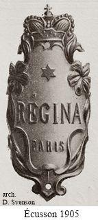 plaque de cadre avec logo de la marque Régina, 1905