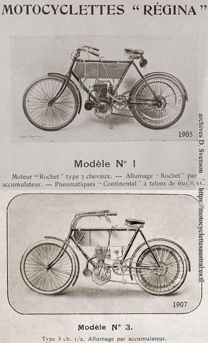 motocyclette Régina, modèle no 1, 1905 et no 3, 1907