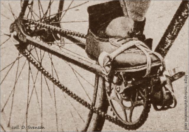 Détail du vélo de Robert Constantin. On voit le moyeu arrière avec un pignon à chaque côté.