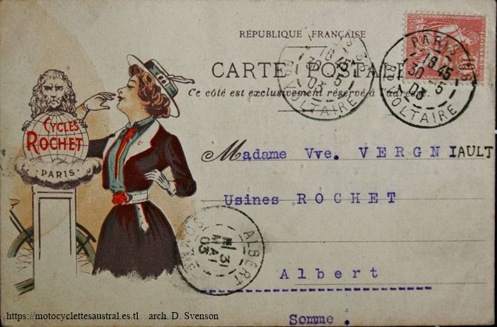 carte postale usines Rochet 1903. dame et logo cycles Rochet