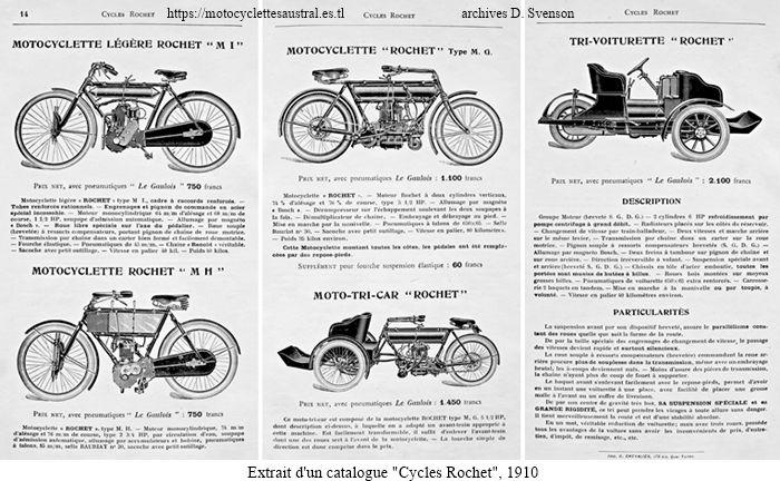 extrait d'un catalogue des cycles Rochet 1910, motos, tricar et trivoiturette Rochet