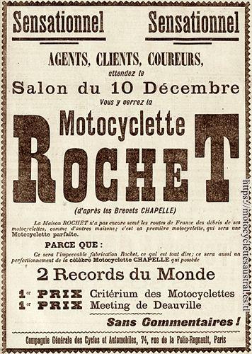 publicité Rochet pour la première motocyclette en 1902