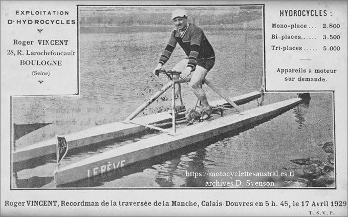 Roger Vincent, Recordman de la traversée de la Manche sur hydrocycle. Carte Postale pblicitaire de son entreprise, 1929