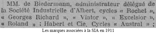 coupure de presse 1911, marques de cycles associées à la SIA