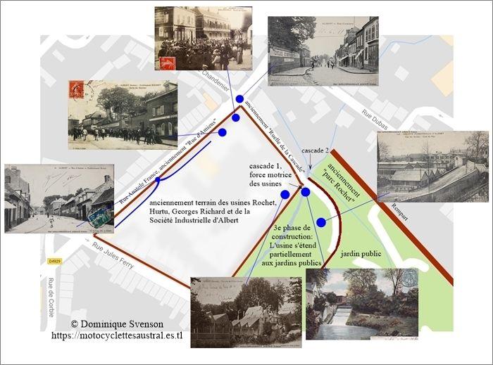 usine de la Société Industrielle d'Albert. Plan qui démontre la situation avant la 1e Guerre Mondiale