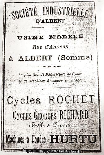 Société Industrielle d'Albert, Usine modèle Rochet, Georges Richard, Hurtu