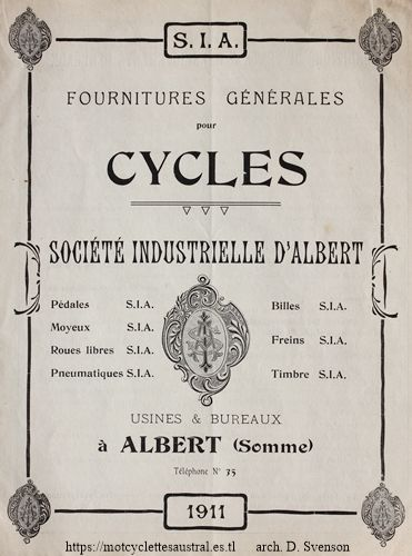 Société Industrielle d'Albert, page d'un catalogue de 1911