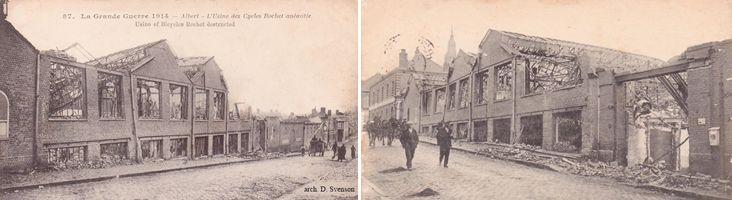 rue d'Amiens à Albert, la façade des usines de la SIA en ruines