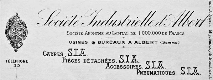 Société Industrielle d'Albert, en-tête d'une facture de 1910
