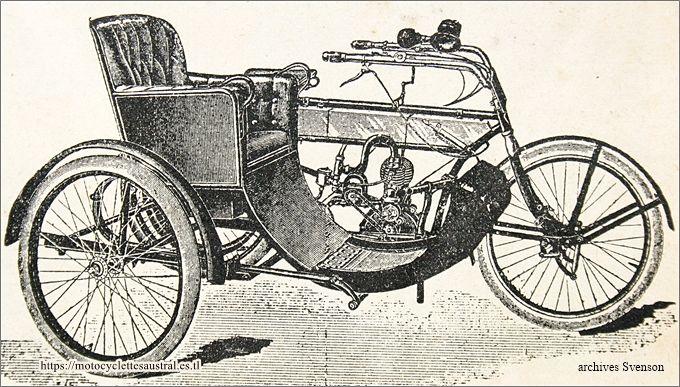 motocyclette avec sidecar SIA, 1914, dessin