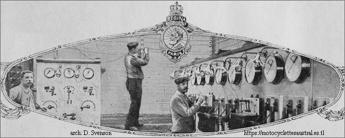 Tableau de distribution d'électricité des usines de la SIA. Photo dans un catalogue des cycles Régina, 1914