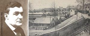 SIA Société Industrielle d'Albert. Portrait du baron de Machiels et usine Rochet-SIA à Albert, Somme.