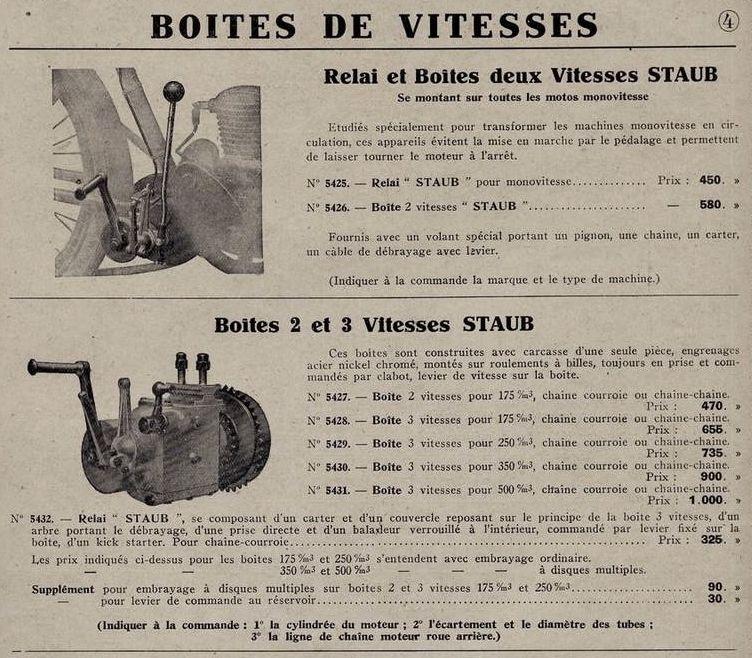 boîtes de vitesses Staub 1928-29