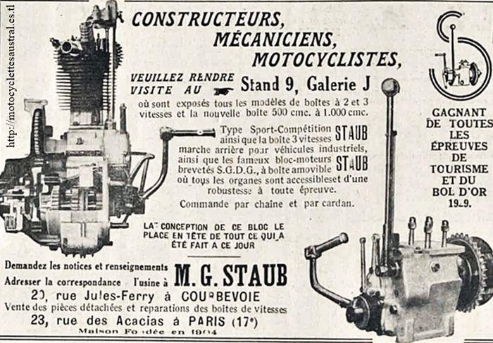 boites et bloc moteur Staub 1929